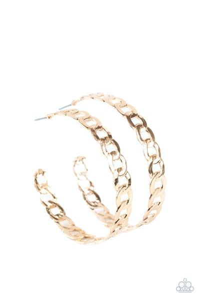 Paparazzi Climate CHAINge - Gold Hoop Earrings - Princess Glam Shop