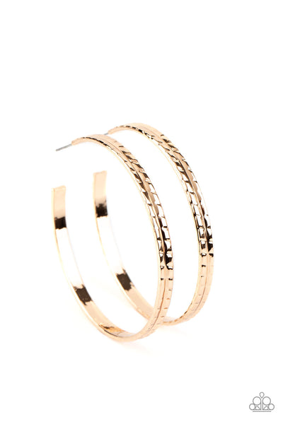 Paparazzi TREAD All About It - Gold Hoop Earrings - Princess Glam Shop