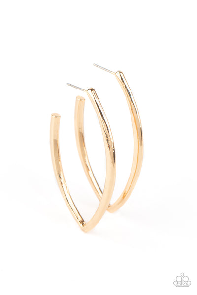 Paparazzi Point-Blank Beautiful - Gold Hoop Earrings - Princess Glam Shop