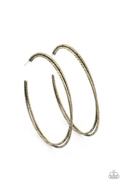Paparazzi Curved Couture - Brass Hoop Earrings - Princess Glam Shop