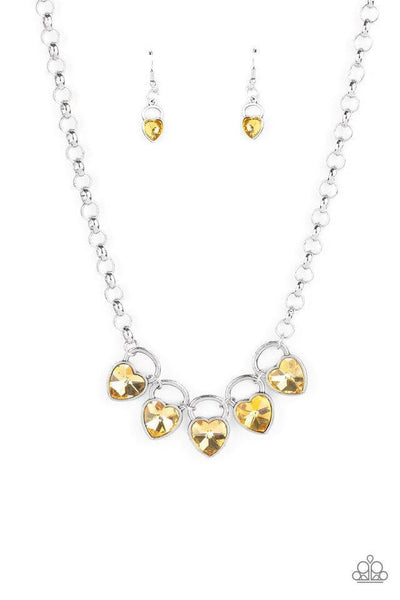 Paparazzi HEART On Your Heels - Yellow Necklace - Princess Glam Shop