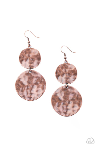 Paparazzi HARDWARE-Headed - Copper Earrings - Princess Glam Shop