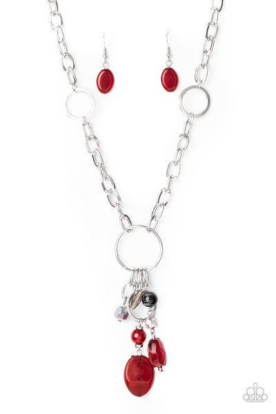 Paparazzi Lay Down Your CHARMS - Red Necklace Set - Princess Glam Shop
