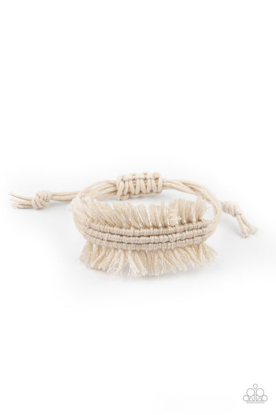 Paparazzi Make Yourself at HOMESPUN - White Urban Macrame Bracelet - Princess Glam Shop