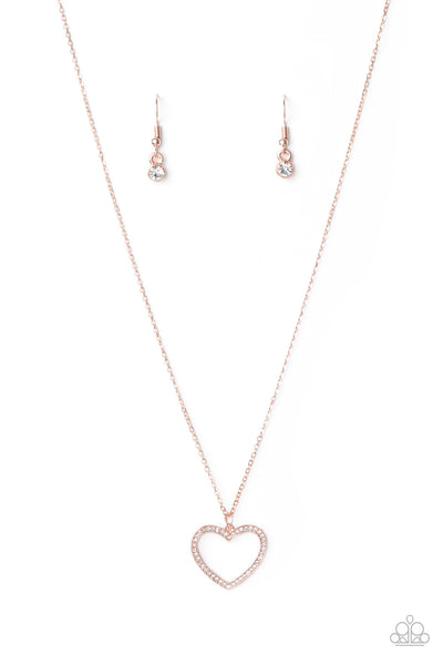 Paparazzi GLOW by Heart - Rose Gold Necklace Set - Princess Glam Shop
