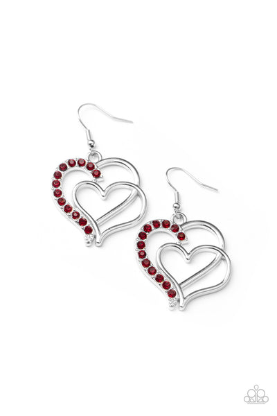 Paparazzi Double The Heartache - Red Earrings - Princess Glam Shop