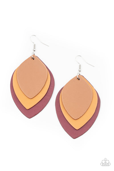 Paparazzi Light as a LEATHER - Red & Brown Leather Earrings - Princess Glam Shop