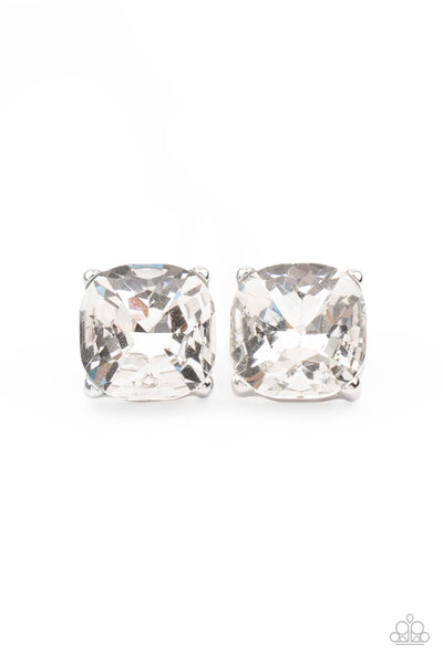 Paparazzi Royalty High - White Earrings - Princess Glam Shop