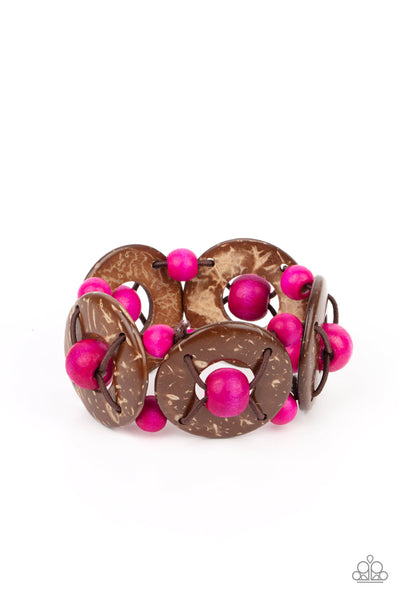 Island Adventure - Pink Wood Bracelet - Princess Glam Shop