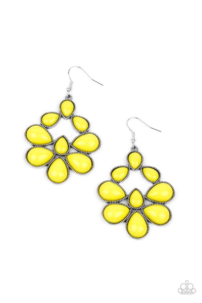 Paparazzi In Crowd Couture - Yellow Earrings - Princess Glam Shop