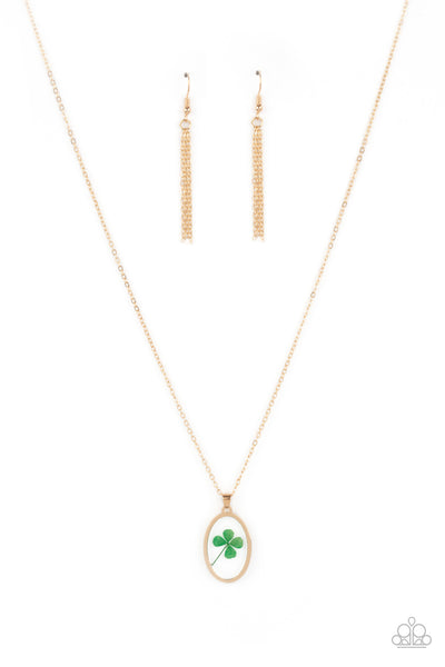 Paparazzi Make Your Own Luck - Gold & Green Necklace Set - Princess Glam Shop