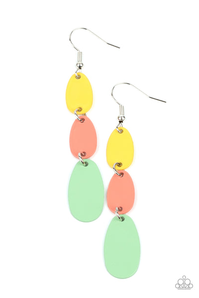 Rainbow Drops - Multi Pink, Green & Yellow Earrings - Princess Glam Shop