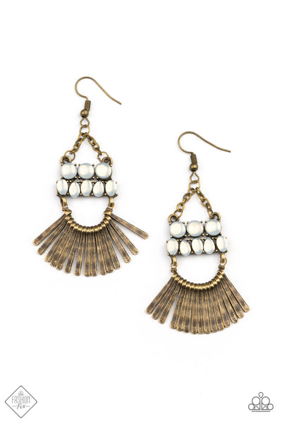 Pre Order! Paparazzi A FLARE For Fierceness - Brass Earrings May 2021 Fashion Fix Exclusive - Princess Glam Shop