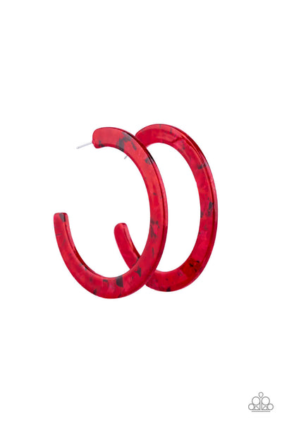 Paparazzi HAUTE Tamale - Red Speckled Acrylic Hoop Earrings - Princess Glam Shop