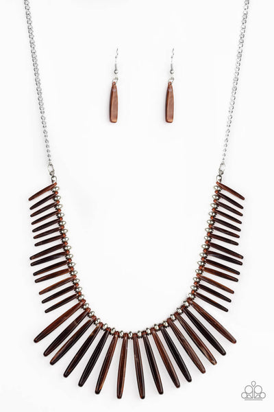 Paparazzi Out of My Element - Brown Necklace Set - Life of the Party Exclusive - Princess Glam Shop