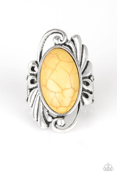 Paparazzi Sedona Sunset - Yellow Crackle Ring - PrincessGlamShop