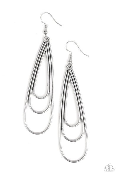Paparazzi Triple Ripple - Silver Teardrop Earrings - Princess Glam Shop