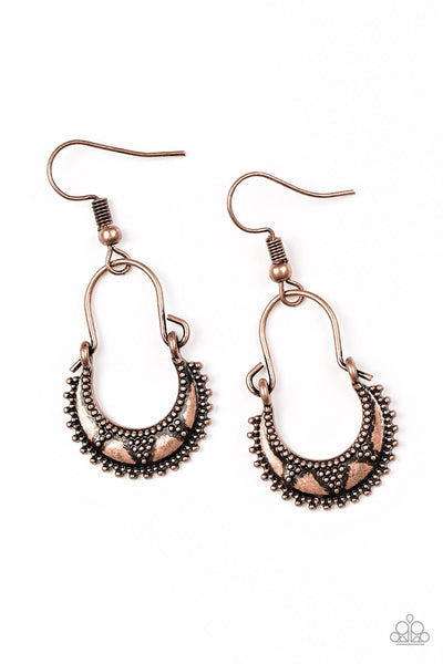 Paparazzi Industrially Indigenous - Copper Earrings - Princess Glam Shop