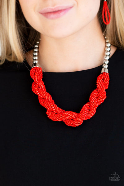 Paparazzi Savannah Surfin - Red Twisting Seed Bead Necklace w/ Free Matching Earrings - PrincessGlamShop
