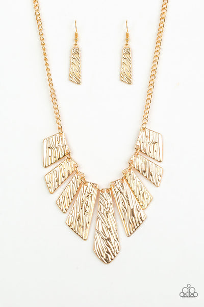 Paparazzi Texture Tigress - Gold Embossed Plate Necklace Set - Princess Glam Shop