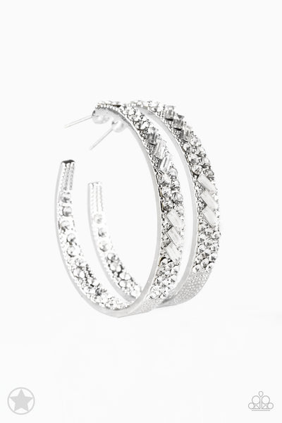 Paparazzi GLITZY By Association - White Hoop Earrings - Princess Glam Shop