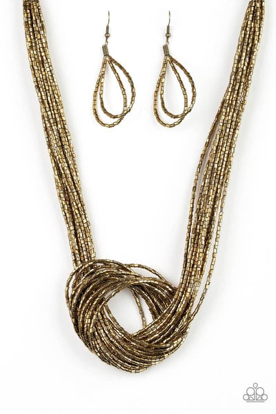 Paparazzi Knotted Knockout - Brass Seed Bead Necklace Set - Princess Glam Shop