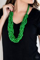 Paparazzi Tahiti Tropic - Green Wood Braided Beaded Necklace Set - Princess Glam Shop