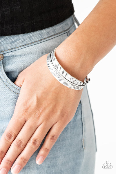 Paparazzi Tran-QUILL-ity - Silver Feather Cuff Bracelet - PrincessGlamShop