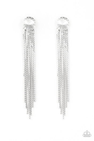 Paparazzi Level Up - White Earrings - Princess Glam Shop