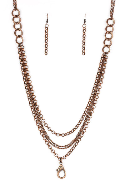 Paparazzi Mechanical Mayhem - Copper Lanyard Necklace Set - PrincessGlamShop