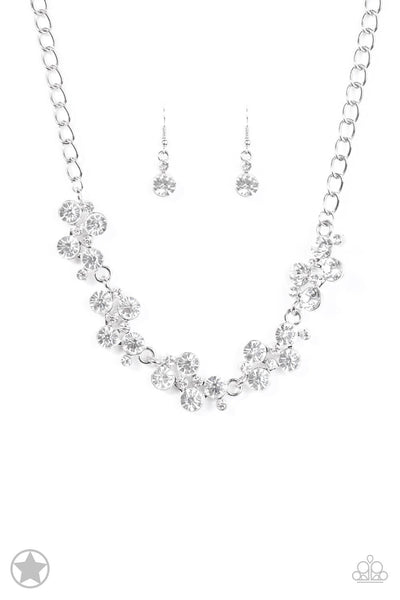 Paparazzi Hollywood Hills White Rhinestone Necklace Set - Princess Glam Shop