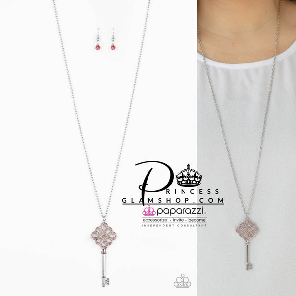 Paparazzi Unlocked - Pink Life Of The Party Exclusive Necklace Set - Princess Glam Shop