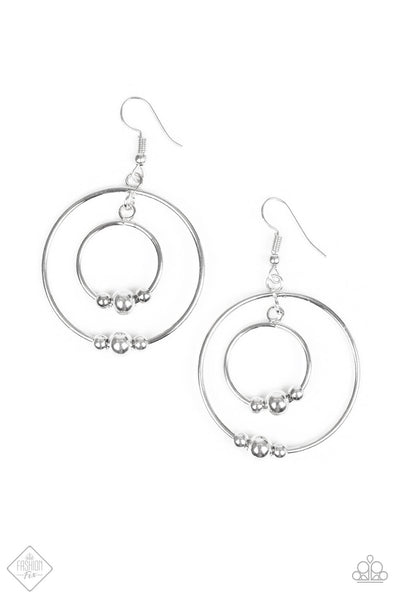 Paparazzi Center of Attraction Silver Bead Hoop Earrings - PrincessGlamShop