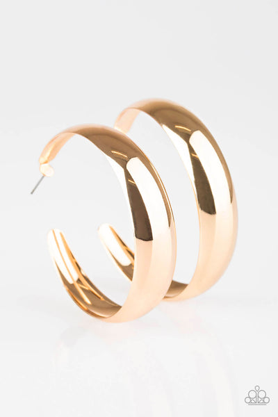 Paparazzi Gypsy Goals - Gold Thick Hoop Earrings - Princess Glam Shop
