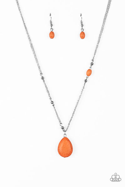 Paparazzi Peaceful Prairies - Orange Necklace Set - Princess Glam Shop