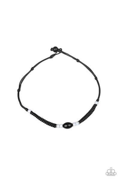 Paparazzi The Forerunner - Black Braided Cord Men's / Unisex Necklace - PrincessGlamShop
