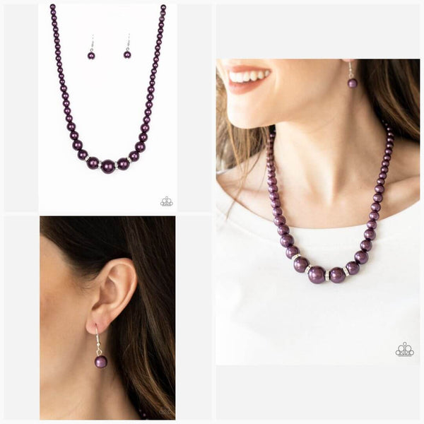 Paparazzi Party Pearls - Purple Pearls - White Rhinestones - Necklace and matching Earrings - Princess Glam Shop