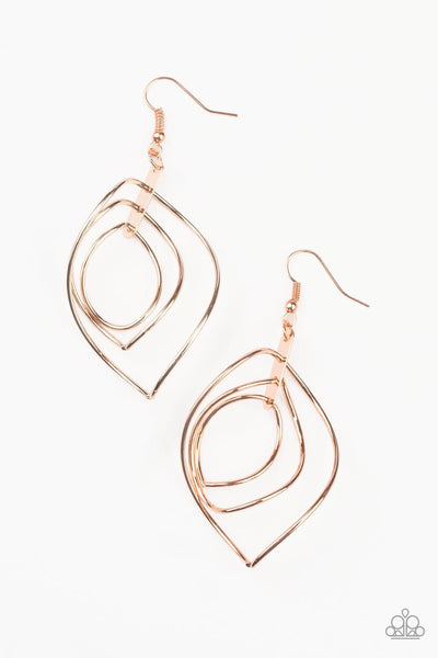Paparazzi Asymmetrical Allure Copper Gold Earrings - Princess Glam Shop