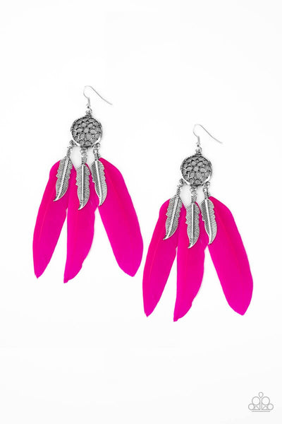 In Your Wildest DREAM-CATCHERS - Pink Feather Earrings - Princess Glam Shop