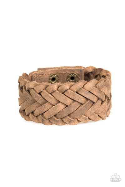 Paparazzi Pirate Port - Brown Leather Weaved Adjustable Bracelet - PrincessGlamShop