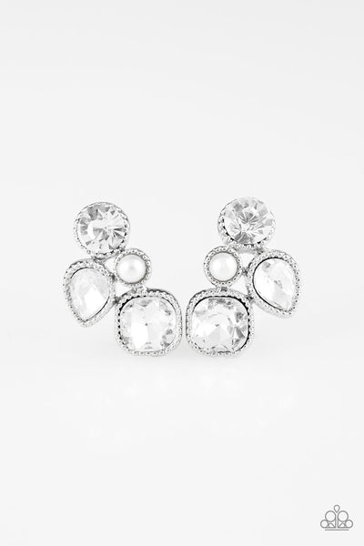 Paparazzi Super Superstar - White Pearl & Rhinestone Earrings - Princess Glam Shop