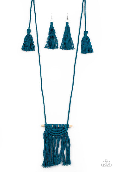 Paparazzi Between You and MACRAME - Blue Necklace Set - Princess Glam Shop