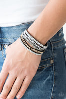 Paparazzi Fashion Fiend - Black Snap Wrap Urban Bracelet - Princess Glam Shop