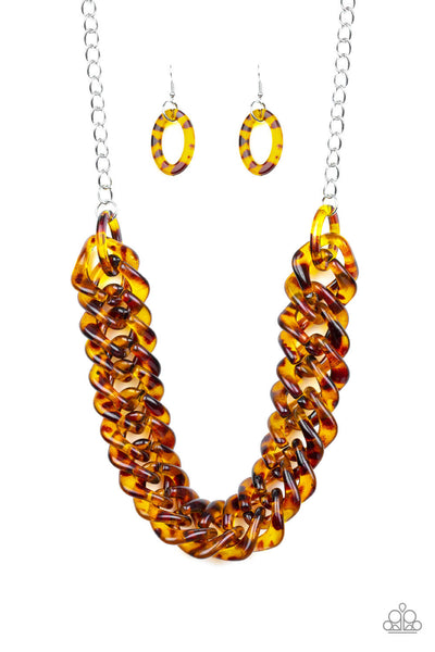Paparazzi Comin' In HAUTE Brown Life of the Party Exclusive Necklace Set - PrincessGlamShop