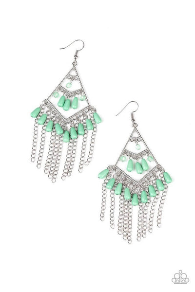 Paparazzi Trending Transcendence - Green Earrings - Princess Glam Shop