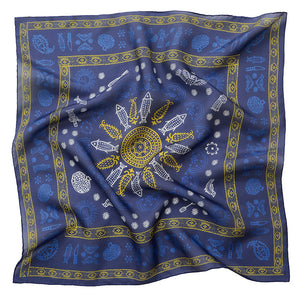Silk scarf - Meidani - Blue/Gold