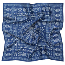 Load image into Gallery viewer, Silk scarf - Meidan - Blue tablecloth