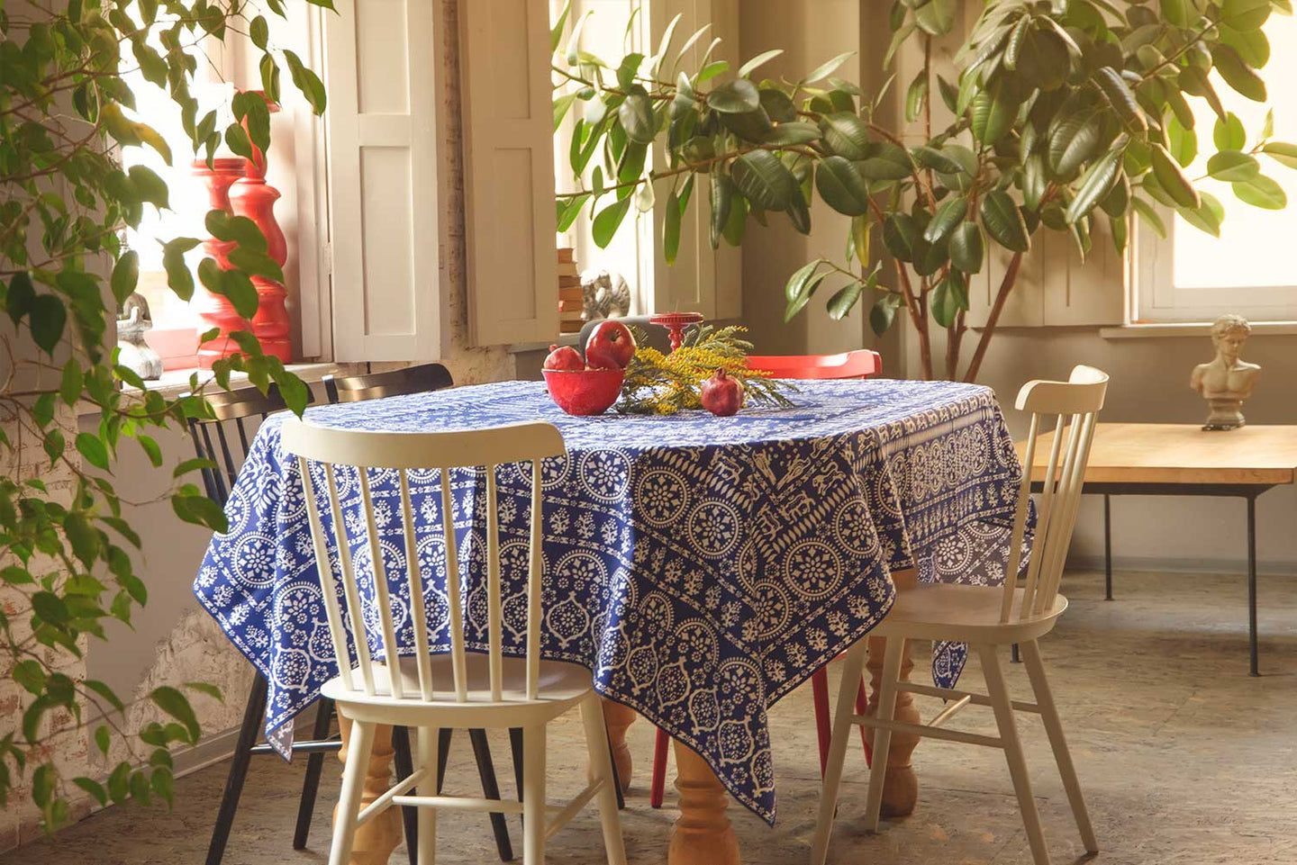 Akhvlediani (blue) - Georgian Traditional Blue Tablecloth