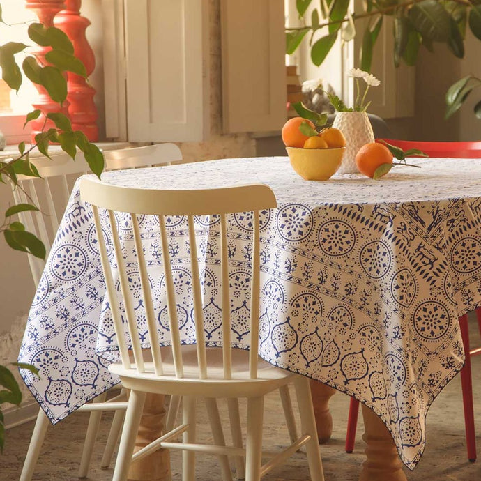 Akhvlediani (white) - Georgian Traditional Blue Tablecloth