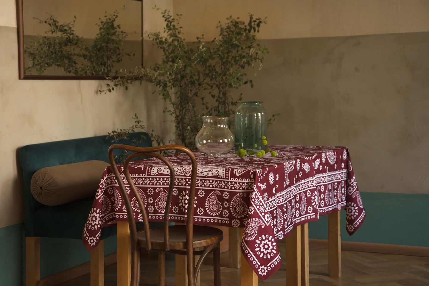 Kala (Red) - Georgian Traditional Blue Tablecloth